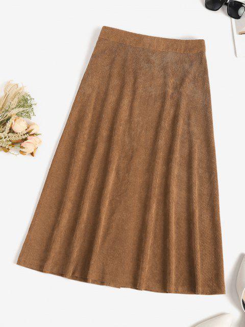 women's ZAFUL Corduroy Snap Button Flap Detail Skirt - COFFEE M Mobile