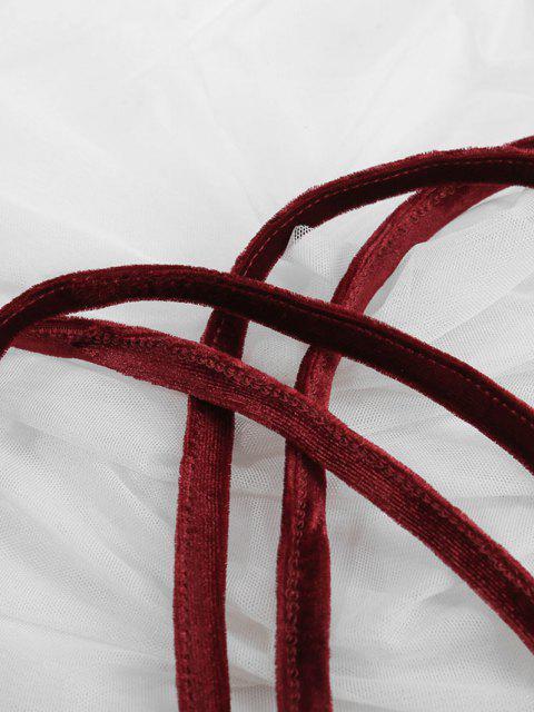 ladies Plus Size Velvet Dual Straps Crisscross Back Bralette - DEEP RED 3XL Mobile