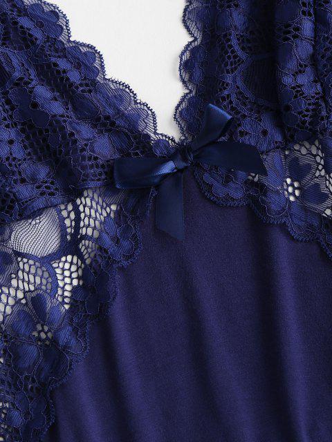 Vestido de Renda de Mergulho de Painel de Renda - Azul Escuro L Mobile