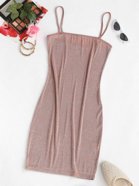 latest ZAFUL Shiny Mini Slinky Party Dress - LIGHT COFFEE S Mobile
