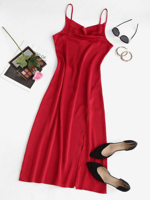 fashion High Slit Cowl Front Midi Party Dress - RED L Mobile