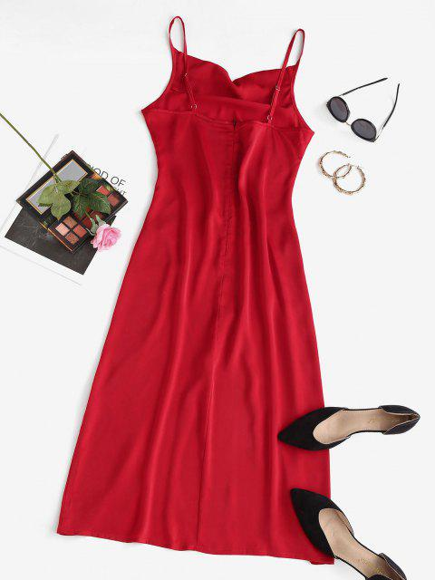 women High Slit Cowl Front Midi Party Dress - RED M Mobile