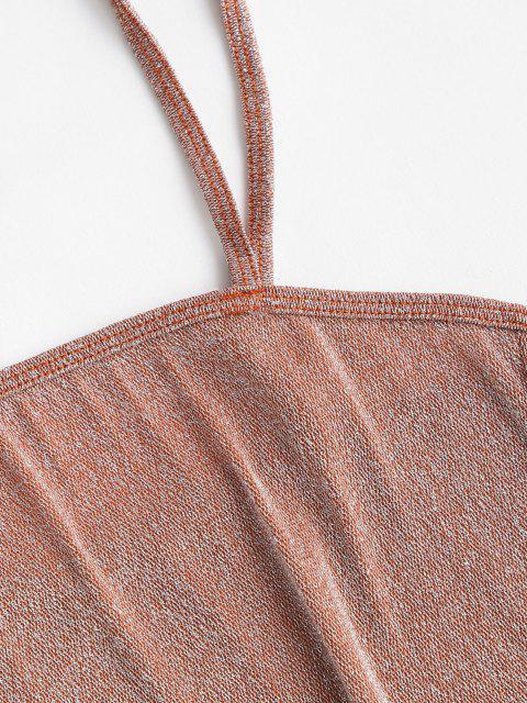 ZAFUL Glänzendes Mini Kleid mit Plüschsamt Hat Einen Quadratischen Ausschnitt - Licht Kaffee L Mobile