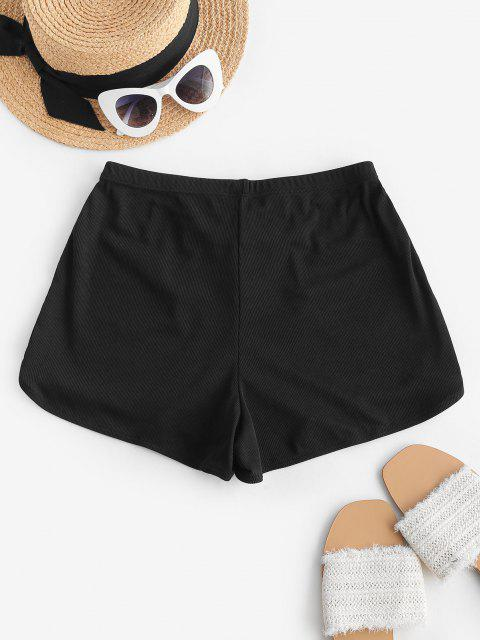 trendy ZAFUL Ribbed Bowknot Swim Boyshorts - BLACK S Mobile