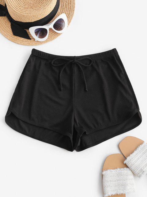 chic ZAFUL Ribbed Bowknot Swim Boyshorts - BLACK L Mobile