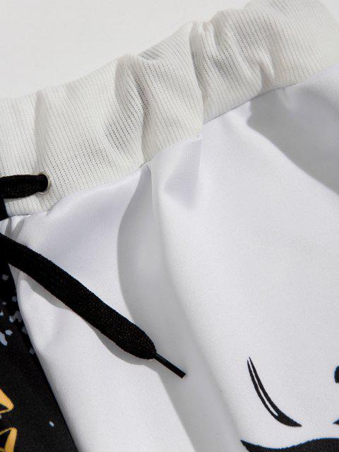 trendy Sun Moon Star Print Contrast Sports Pants - BLACK 2XL Mobile