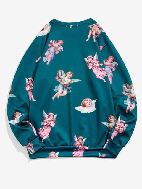 womens Angel Print Renaissance Art Sweatshirt - PEACOCK BLUE 2XL Mobile