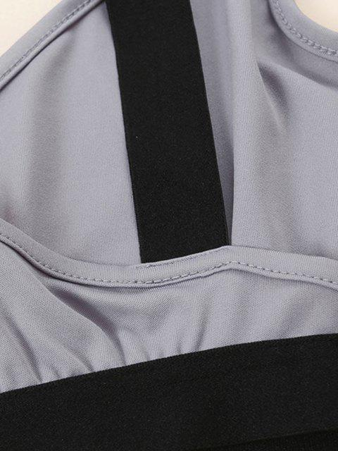 Übergröße Kontrast Band Crossover Bralette - Grau 1XL Mobile