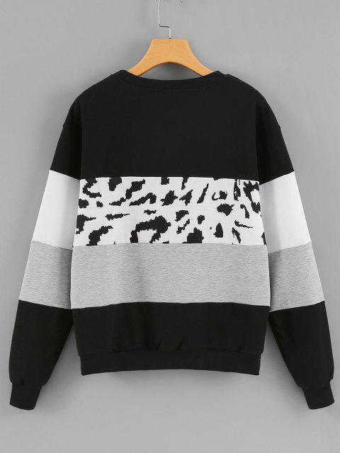 Crew Neck Leopard Panel Colorblock Sweatshirt - أسود XL Mobile