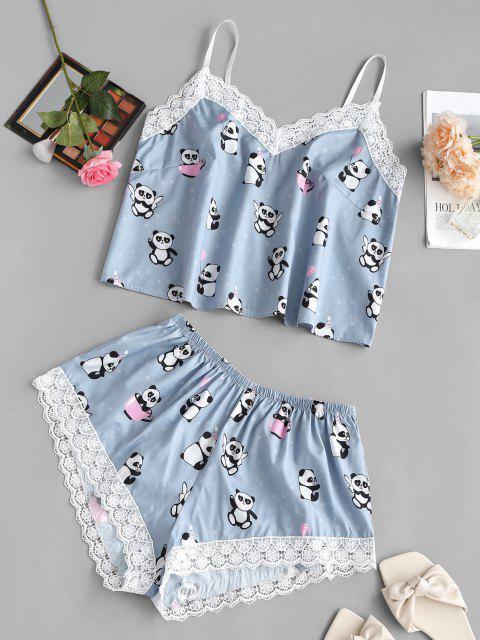 Ensemble de Pyjama Panda Imprimé à Ourlet en Dentelle Guipure de Grande Taille - Bleu 2XL Mobile