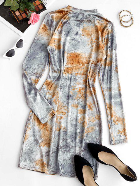Mini Vestido Teñido de Terciopelo de Tie-dye con Cordón - Gris Claro M Mobile