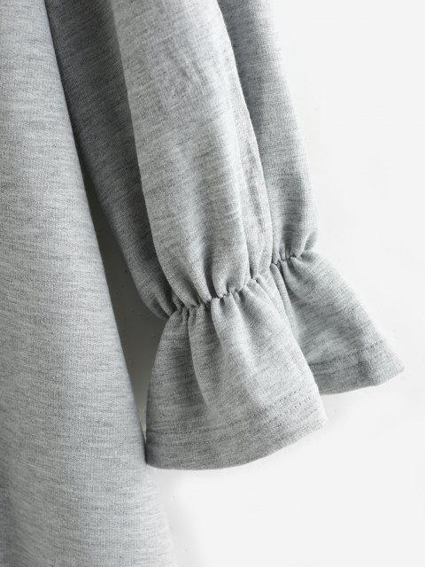 womens ZAFUL Poet Sleeve French Terry Sweatshirt Dress - LIGHT GRAY M Mobile