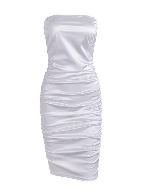 fancy Ruched Tube Bodycon Club Dress - WHITE S Mobile