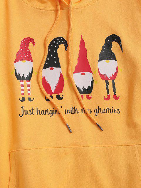 new Christmas Santa Claus Print Kangaroo Pocket Hoodie - YELLOW S Mobile