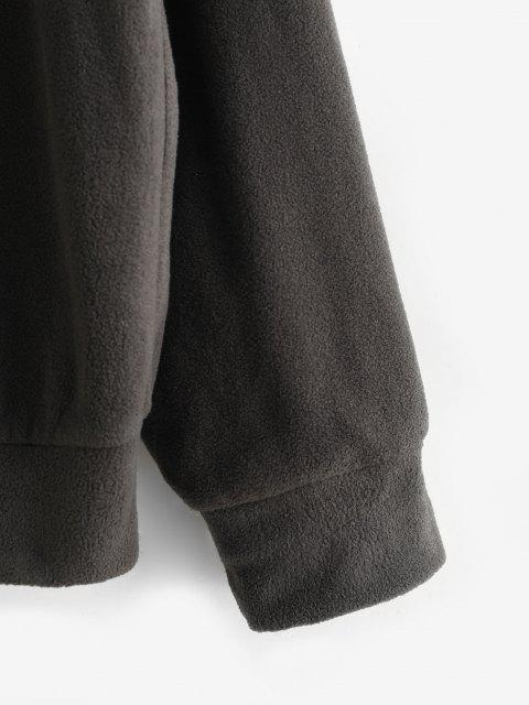 Zaful 꽃 편지 두 톤 폴라 플리스 스웨터 - 깊은 커피 에스 Mobile