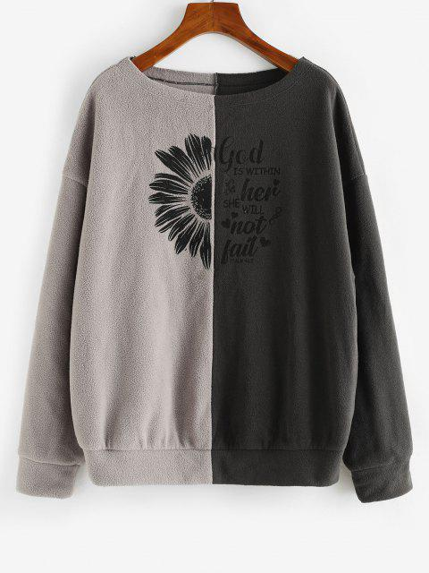 ZAFUL Floral Letter Two Tone Polar Fleece Sweatshirt - القهوة العميقة S Mobile