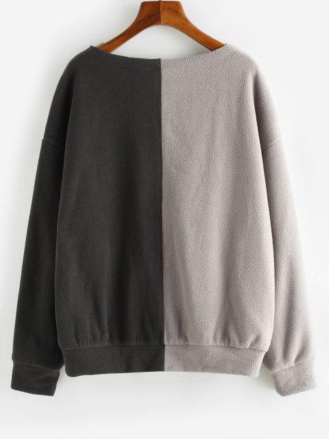 ZAFUL Blumen Buchstabe Zweifärbiges Polar Vlies Sweatshirt - Tiefkaffee M Mobile