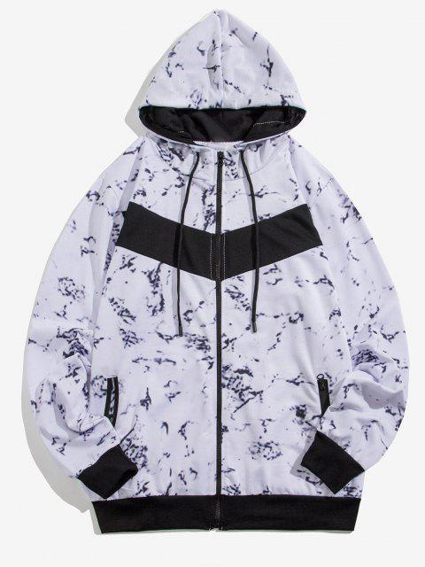 Veste à Capuche Zippée Marbre Imprimé - Blanc S Mobile