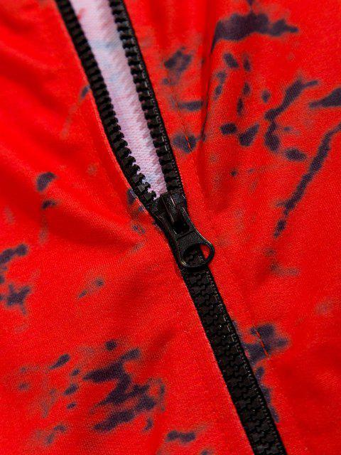 Veste à Capuche Zippée Marbre Imprimé - Rouge XS Mobile
