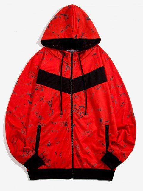 latest Hooded Marble Print Zip Up Jacket - RED M Mobile