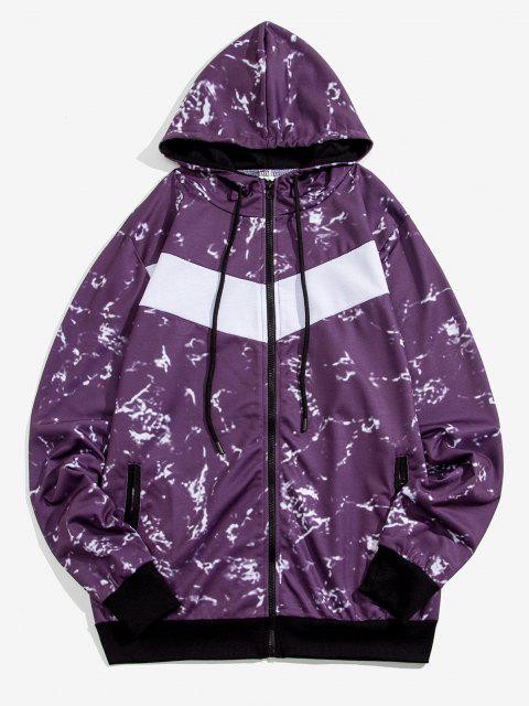 chic Hooded Marble Print Zip Up Jacket - PURPLE M Mobile