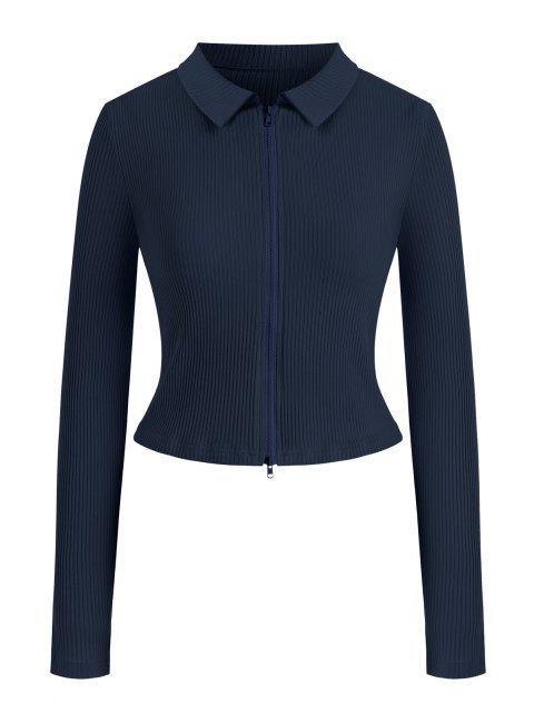 T-shirt Côtelé Zippé en Couleur Unie de Grande Taille - Bleu profond L Mobile