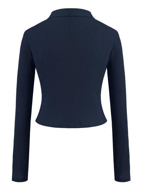T-shirt Côtelé Zippé en Couleur Unie de Grande Taille - Bleu profond 1XL Mobile