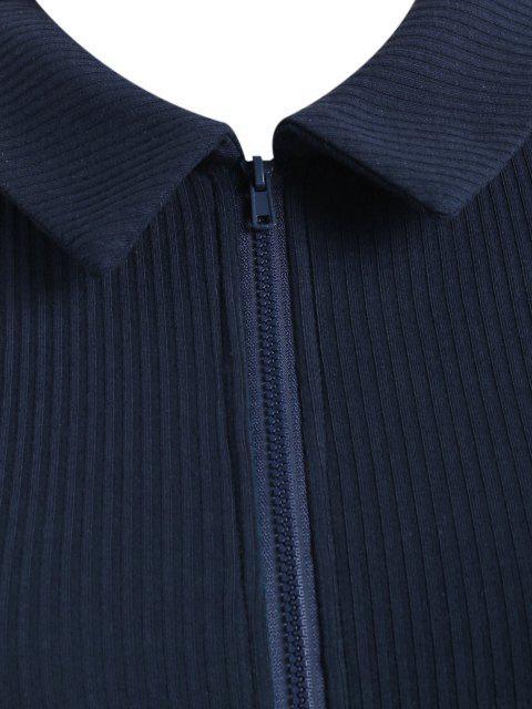 T-shirt Côtelé Zippé en Couleur Unie de Grande Taille - Bleu profond 2XL Mobile
