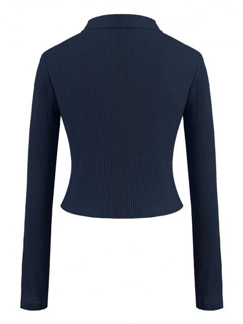 Camiseta Acanalada de Talla Grande de Color Sólido con Cremallera - Azul Profundo 4XL Mobile
