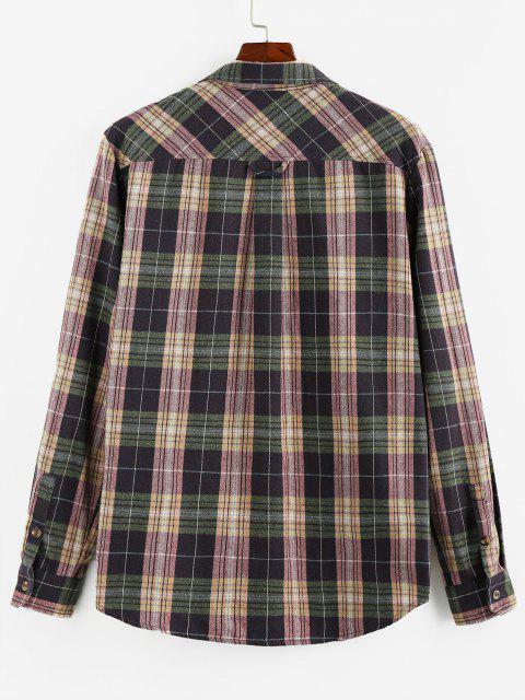 trendy ZAFUL Plaid Printed Double Pockets Button Up Shirt - VIOLA PURPLE M Mobile