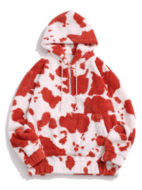 Cow Pattern Fluffy Half Zipper Hoodie - أحمر M Mobile