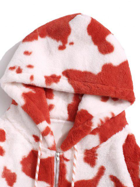 affordable Cow Pattern Fluffy Half Zipper Hoodie - RED XL Mobile