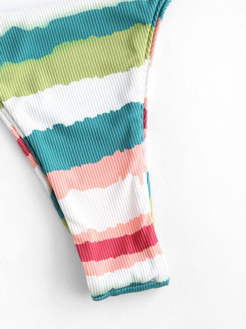 trendy ZAFUL Ribbed Colorful Striped Thong Bikini Swimwear - MULTI S Mobile