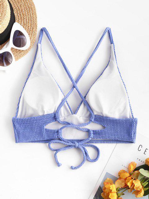 ZAFUL Haut de Bikini Texturé Croisé à Lacets - Bleu L Mobile