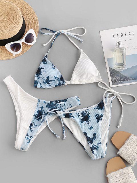 shops ZAFUL Halter Tie Dye Ribbed Three Piece Bikini Swimsuit - LIGHT BLUE M Mobile