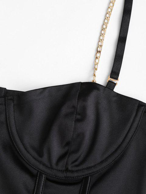Haut Court Corset en Cuir PU avec Bretelles et Chaîne en Armatures - Noir M Mobile