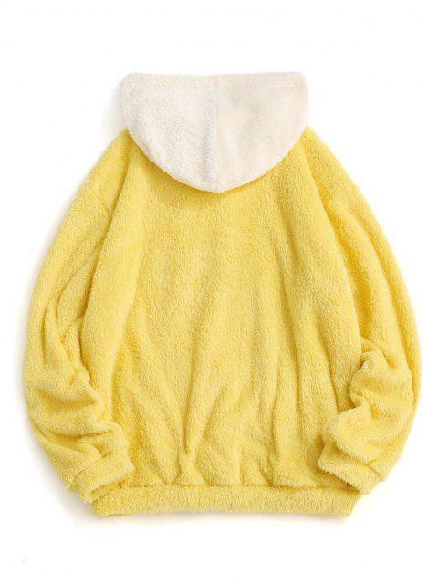 buy Colorblock Splicing Drawstring Fluffy Hoodie - YELLOW 2XL Mobile