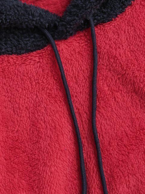 Sweat à Capuche Fourré Jointif en Blocs de Couleurs à Cordon - Rouge Saint-Valentin S Mobile