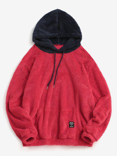 hot Colorblock Splicing Drawstring Fluffy Hoodie - VALENTINE RED 2XL Mobile