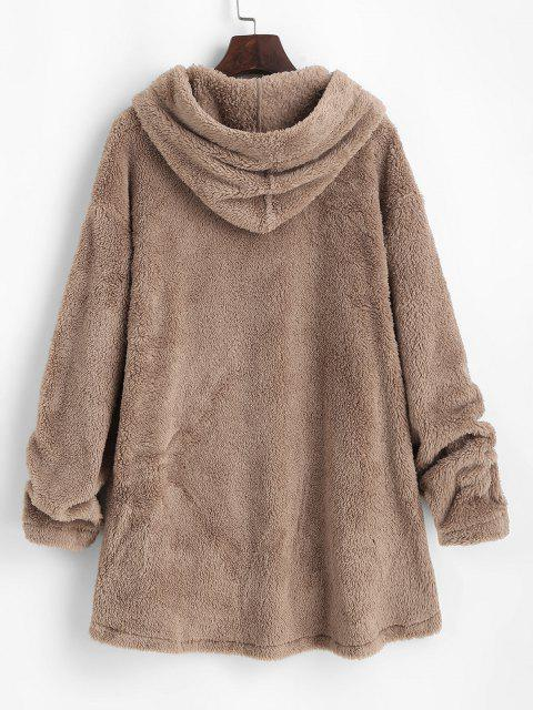 ZAFUL Fluffy Hooded Drop Shoulder Jacket - القهوة الخفيفة L Mobile