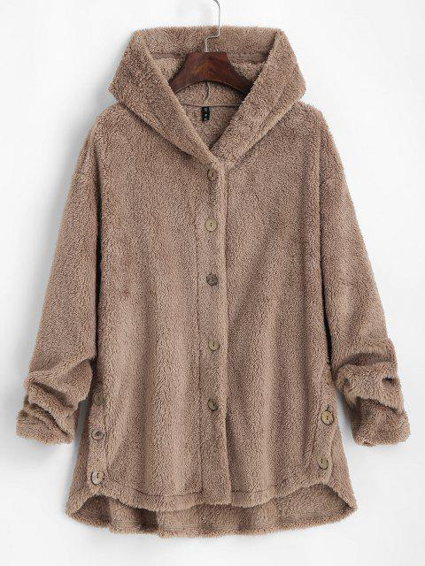 ZAFUL Fluffy Hooded Drop Shoulder Jacket - القهوة الخفيفة S Mobile
