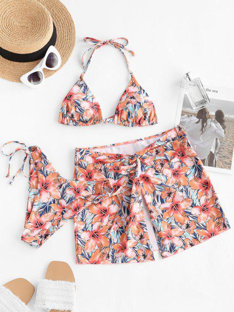 ladies ZAFUL Flower Halter High Leg Twisted Three Piece Bikini Swimwear - LIGHT ORANGE M Mobile