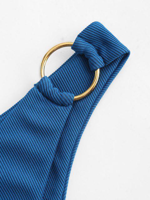 outfit ZAFUL Ribbed O-ring Bikini Bottom - DEEP BLUE S Mobile