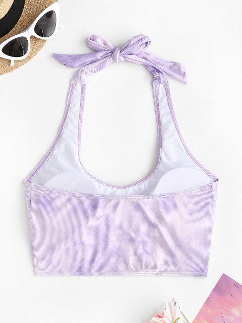 ZAFUL Haut de Bikini Côtelé Teinté à Col Halter - Violet clair L Mobile