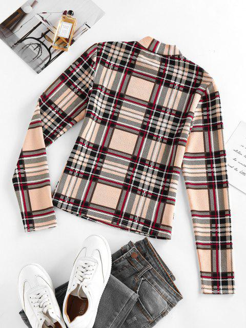 women's ZAFUL Plaid Mock Neck Fitted T Shirt - APRICOT M Mobile