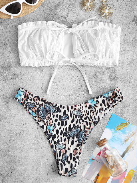 affordable ZAFUL Ribbed Leopard Butterfly Print Ruffle Tie Front Bandeau Bikini Swimwear - WHITE M Mobile
