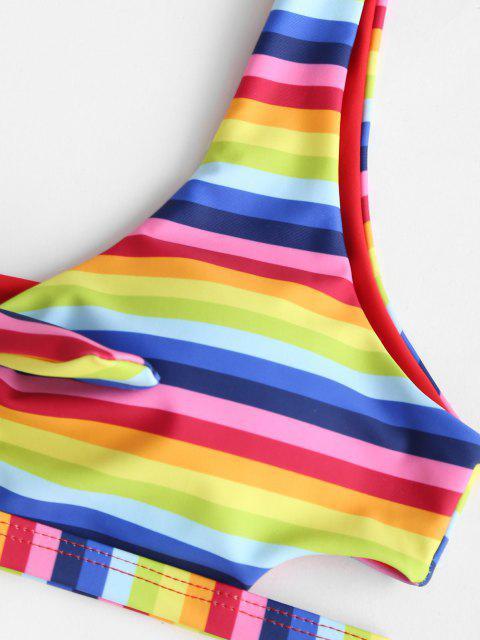buy ZAFUL Striped Rainbow Knot Tank Bikini Swimwear - MULTI S Mobile