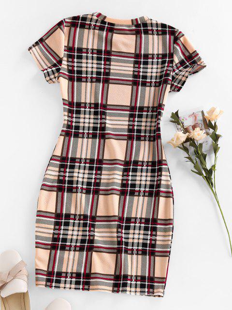 fancy ZAFUL Plaid Mini Bodycon Dress - APRICOT XL Mobile