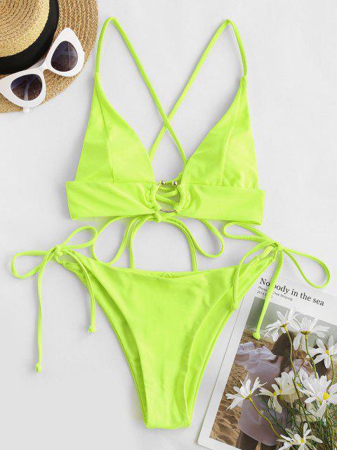 new ZAFUL Neon U-bar Crisscross Lace-up Tie Side Bikini Swimwear - GREEN S Mobile