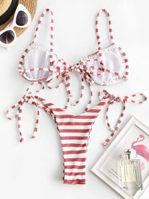 sale ZAFUL Skimpy Tie Ribbed Striped Thong Bikini Swimwear - WHITE M Mobile